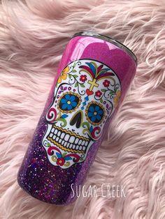 Diy Tumblers, Glitter Tumblers, Glitter Cups, Custom Tumblers, Insulated Mugs, Yeti Decals, Custom Cups, Yeti Cup, Candy Skulls