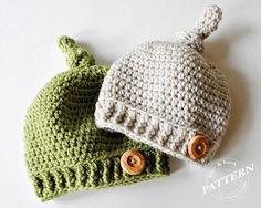 CROCHET PATTERN - Top Knot Beanie Crochet Knot Hat Pattern Easy Crochet (Newborn to Adult sizes) Instant Download pdf #025H