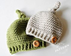 CROCHET PATTERN - Top Knot Beanie Crochet Knot Hat Pattern Easy Crochet (Newborn to Adult sizes) Instant Download pdf #025H