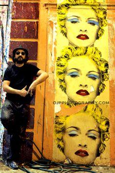 Mr. Brainwash at his studio in Los Angeles, California.   Mr Brainwash - more streetart? Check www.Streetart.nl