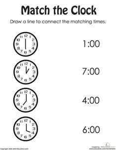 First grade math worksheets: rotary clock practice Clock Worksheets, First Grade Math Worksheets, Free Printable Worksheets, Kindergarten Worksheets, Worksheets For Kids, Free Printables, Matching Worksheets, Teaching Clock, Teaching Time