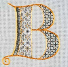 """One of the great things about monograms is their adaptability to multiple styles of embroidery. This is """"Tudor Monogram"""" - a piece designed by Lizzy Pye. Lizzy just taught this piece at Hampton Court Palace for the Royal School of Needlework You can read Motifs Blackwork, Blackwork Embroidery, Embroidery Alphabet, Embroidery Monogram, Cross Stitch Alphabet, Cross Stitch Embroidery, Hand Embroidery, Cross Stitch Patterns, Landsknecht"""