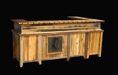 Rustic Western Reception Desk with Return, Reception Counter & Tile Insert