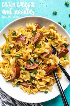 Cajun Cabbage and Noodles is a fun spin on the classic comfort food with a handful of Cajun spices, some smoked sausage, and a splash of hot sauce. Cajun Recipes, Pasta Recipes, Dinner Recipes, Cooking Recipes, Noodle Recipes, Dinner Ideas, Cabbage And Noodles, Vegetarian Recipes, Healthy Recipes