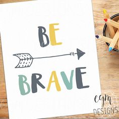 Be Brave Arrow Digital Print Blue & Yellow Playroom by egmDESIGNS
