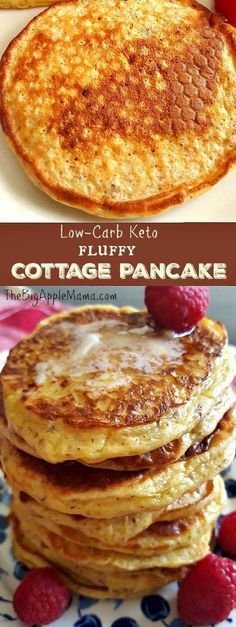 Low-Carb Keto Fluffy Cottage Pancakes. Only 4 basic Ingredients. #lowcarb #keto #pancakes
