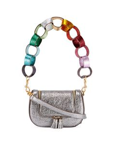 ANYA HINDMARCH Vere Paperchain Mini Satchel Bag, Silver. #anyahindmarch #bags #leather #lining #satchel #metallic #shoulder bags #hand bags #