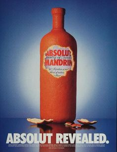 """Absolut Revealed."" This is an original 1999 color print ad for Absolut Mandrin Vodka. Photography by Steve Bronstein. CONDITIONThis 12+ year old Item is rated"