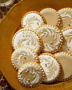 Stencil-icious. Though deceptively difficult, these elaborate cookies are actually a cinch to decorate. Simply purchase a cookie stencil, place it on an iced cookie, spread Royal Icing in a contrasting color on top – and voilà!