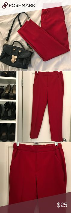 Bright Red Pants | Zara never used Red pants from Zara never used. Size XS. It has an elastic waistband so it probably fits a S too. They are in great condition and looks really nice with a white shirt or a denim jacket over them. Zara Pants