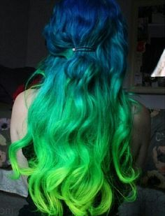 Blue with green ombre blue and green hair color