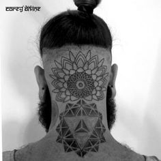 Head Neck Geometric Dotwork Tattoo by Corey Divine