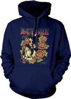 Devota Dia De Los Muertos Mens Gothic Sweatshirt Sugar Skull Woman Tattoo Style Pullover Hoodie XX-Large Navy