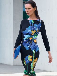 The bold floral pattern on this Joseph Ribkoff dress is certain to draw the  eye and 25df2234a
