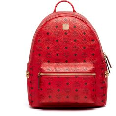 MCM Stark Backpack ($790) ❤ liked on Polyvore featuring bags, backpacks, zip top bag, red bag, mcm bags, mcm backpack and utility backpack