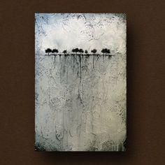 Abstrakter Malerei von Bäumen am Horizont von BrittsFineArt auf Etsy