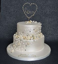 Pearl Anniversary Cake With Handmade Gold And Love Heart Topper 30th Wedding Pam Bakes Cakes Pambakescakes