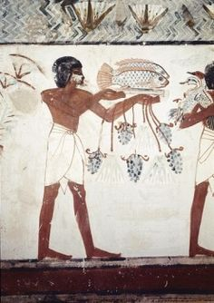 EGYPT. Dayr al-Bahri. Valley of the Nobles. Tomb of Menna. Servant with the fishing. Egyptian art. New Kingdom. Painting.