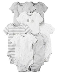 289e71829 Carters Baby Boys 7 Pack Bodysuits Newborn Gray ** Details can be found by  clicking