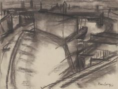 London River 1946  David Bomberg (1890-1957) Charcoal on Paper  Tate Gallery