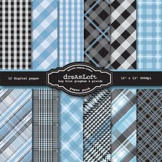 Baby Boy Blue Gingham and Plaid Digital Paper Pack in by DreAmLoft, $3.99