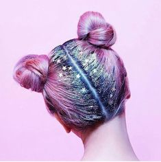 Crazy Hair Up Do Inspiration Hair Style Festival Inspired Glitter Parting Multicoloured Pink And Purple Star Hair