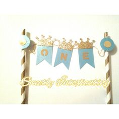 Little Prince crown blu and gold cake bunting banner