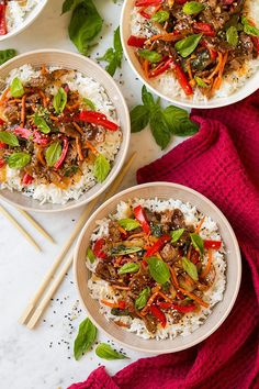 So I've decided I need more Thai food in my life. It's so uniquely flavorful and it always leaves me craving more. These hearty Thai Basil Beef Bowls are no exception to that! It's a quick meal to throw together and it's jam packed with amazing flavors! I love the way the sauce compliments the beef and of course I