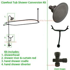 brass clawfoot tub shower kit. Oil Rubbed Bronze Clawfoot Tub Shower Conversion Kit with Enclosure Curtain  Rod Polished Brass by Kingston