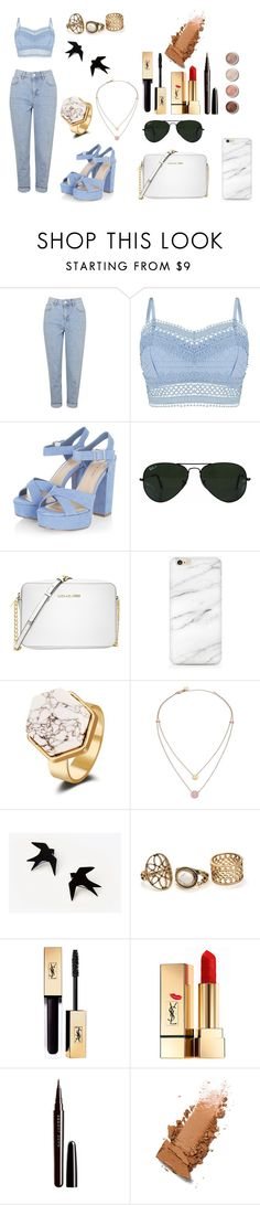 """""""BLUE"""" by pinkybunny on Polyvore featuring moda, Topshop, Lipsy, Ray-Ban, Michael Kors, Yves Saint Laurent, Marc Jacobs y Terre Mère"""