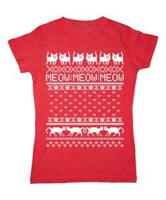 Look what I found on #zulily! Red & White 'Meow' Holiday Cat Crewneck Tee #zulilyfinds