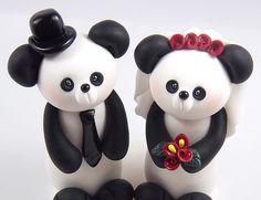 Custom panda cake toppers? How can you go wrong? #wedding #panda