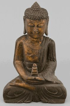 Asian Decor: Stone Seated Buddha from Hebei Province, China