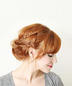 Cute Updo with Little Braids And Side Swept Bangs
