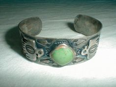 vintage fred harvey navajo coin 900 sterling silver green turquoise cuff bracelet - Quality Vintage Jewelry