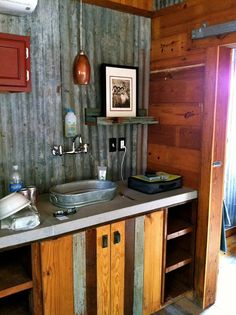 A variety of materials are used in this reclaimed bathroom space. Slide Show. | Tiny Homes