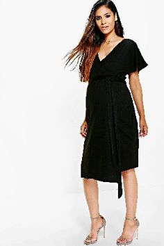 #boohoo Katy Crepe Wrap Midi Dress - black DZZ70267 #Maternity Katy Crepe Wrap Midi Dress - black