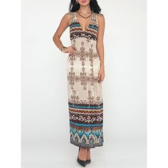 Attractive V Neck Paisley Printed Tribal Maxi Dress ($20) ❤ liked on Polyvore featuring dresses, white party dresses, v neck maxi dress, v neck dress, empire waist maxi dress and v-neck maxi dresses