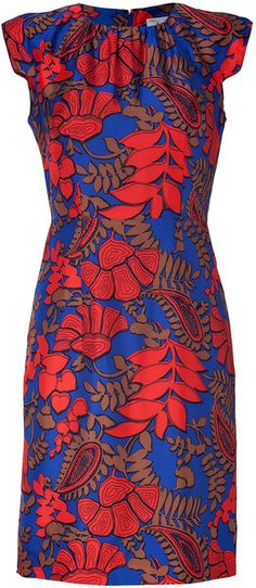 MILLY   Cobalt and Vermillion Printed Sheath Dress
