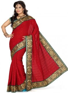 Alluring Crimson Color Silk Based Embroidered #Saree #designersarees #clothing #womenswear #womenapparel #ethnicwear