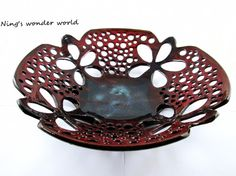 Pottery lace bowl, Modern design, hand carved (IN STOCK) - Beautiful!