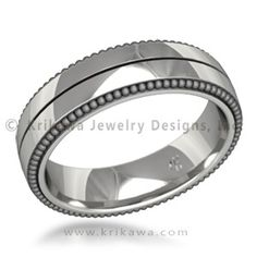 Vintage Wreath Men's Wedding Band - This is the men's wedding ring to match the Vintage Wreath Engagement Ring.  Like the women's ring, it has a groove encircling the band and millegrained edges.