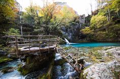 Old bridge that takes you to the blue eye pond in Theth, Albania