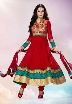 #Red Faux Georgette #Anarkali Churidar Kameez