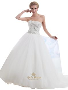 lindadress.com Offers High Quality Ivory Strapless Tulle Silver Beaded Bodice Ball Gown Wedding Dress,Priced At Only USD USD $220.00 (Free Shipping)
