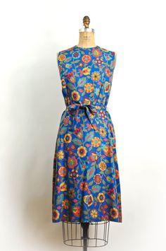 1960s floral linen dress