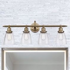 90 octave bathroom vanity light it features large curved shades shop bel air lighting soft tone gold bell vanity light at lowe canada find our selection of bathroom vanity lighting at the lowest price guaranteed with aloadofball Image collections