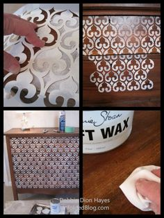Stencil with Chalk Paint & then lightly distress with Wax to Dress Up an Old Dresser