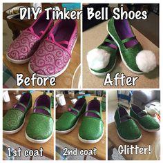 Tinkerbell, tinker bell, Tinkerbell shoes, tinker be shoes, DIY Tinkerbell shoes, DIY tinker bell shoes