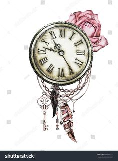 watercolor illustration with red roses, clock, keys and feathers. Gothic background with flowers. Cool print on T-shirt, Tattoo. Pocket Watch Tattoo Design, Clock Tattoo Design, Tattoo Designs, Tattoo Clock, Father Daughter Tattoos, Tattoos For Daughters, Watch Tattoos, Time Tattoos, Doodle Tattoo